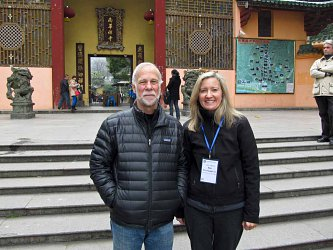 Peter Gregory and Ann Pirruccello Sensei at Nanhua Temple (temple where Huineng lived for 40 years). Annie attended a Platform Sutra workshop at the temple led by Peter and organized by the Woodenfish Project.    Zen, San Diego