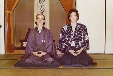 Barry with Koryu Roshi in the zendo of the Hannya Dojo.