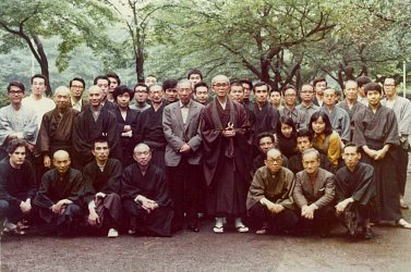 Rohatsu Sesshin. Lay Zen in Japan. Osaka Koryu Roshi is in the middle. Barry, kneeling, is front row far left.