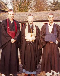 Tenshin Roshi with two of his successors, Barry and Dave Scott Sensei of the English sangha at a sesshin near Liverpool.